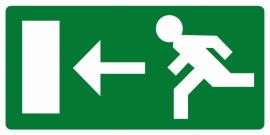 Artikelnummer RE2–V1.02 sticker Vluchtweg links (afm. 30x15cm) per st. vanaf 10 st.