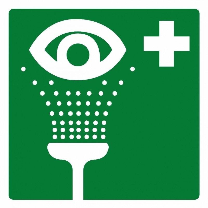 Artikelnummer RE2–V1.11 sticker Oogspoel Douche (afm. 20x20cm) per st. vanaf 10 st.