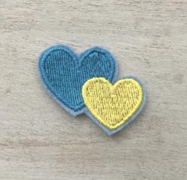 2 harten blauw / geel