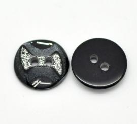 Zwart knoopje met glitter   12 mm