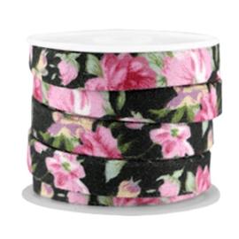 Trendy plat koord Vintage zwart-roze