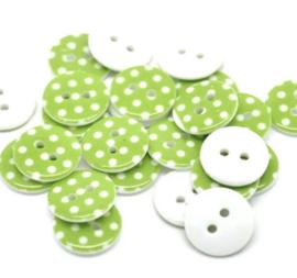 Groen met witte stip. 15 mm