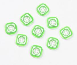 Groen wit knoopje 12 mm