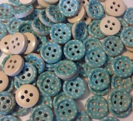 Zee blauw knoopje met stippen. 13 mm