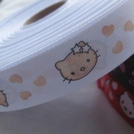 Hello Kitty  Wit 25 mm 90 cm voor 1,75