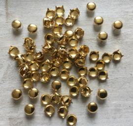 Studs goud rond  10 mm. 30 voor