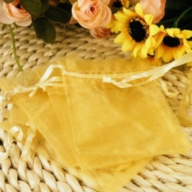 Geel / goud organza tasjes / zakjes