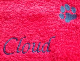 Handdoek met naam en pootje