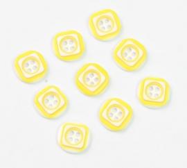 Geel wit knoopje  12 mm