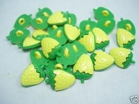 Geel/groene aardbeien knoopjes
