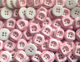 Roze wit vierkant. 12 mm