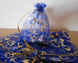 Blauw - Kobaltblauw met gouden en zilveren hartjes