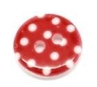 Rood met witte stip. 15 mm per stuk € 0,10