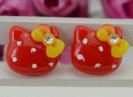 Hello Kitty Rood met steentje 4 voor € 1,25