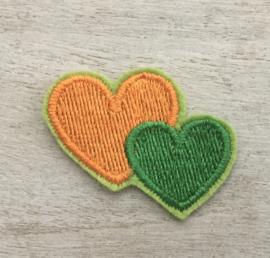 2 harten oranje / groen