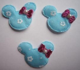 Mickey Mouse kopje met strikje met pareltje ( blauw ) 5 voor € 0,80