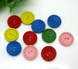 Verschillende kleuren houten  knoopjes 20 mm 5 voor € 0,50