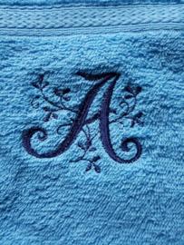 Handdoek met washandje beide met Monogram