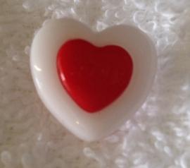 Hartje wit / rood. 15 mm