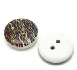 Allemaal kleurtjes hout knoopje 15 mm per stuk € 0,08