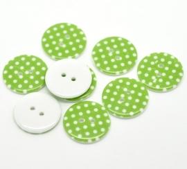 Groen met witte stip 23 mm