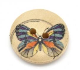 Hout knoopje met vlinder. 18 mm per st. € 0,15