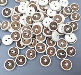 Bruin creme hout. 13 mm