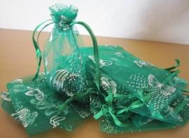 Groen -   Fel groen met zilveren vlinders