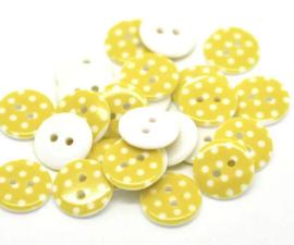 Geel met witte stip 15 mm
