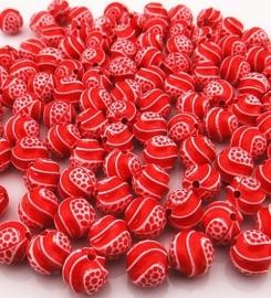 Rood witte kraal 11 mm 10 voor € 0,50