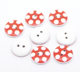 Rood witte stip 15 mm per stuk € 0,10