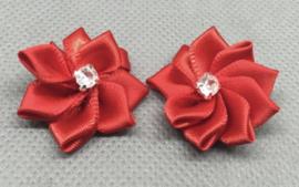 Bloemen rood 25 mm met stras
