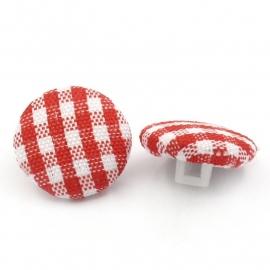 Rood wit stoffen knoopje 14 mm per stuk € 0,07