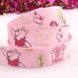 Winnie de Pooh  roze met vogeltje