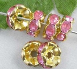 Goud / Roze.  8 mm 10 voor