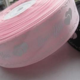 Roze lint 38 mm 90 cm voor € 1,50
