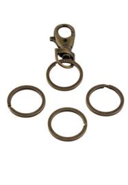 Sleutelhanger ring Oudbrons. 30 mm