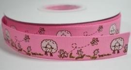 Roze schaapjes lint. 16 mm. Per meter