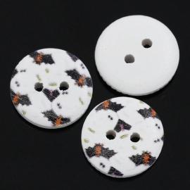 Houten knoopje met vleermuizen 15 mm per stuk € 0,10