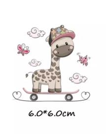 Giraf op skate board