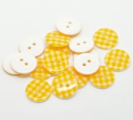 Geel met wit ruitje 15 mm