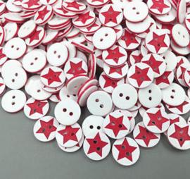 Wit met rode ster.  13 mm