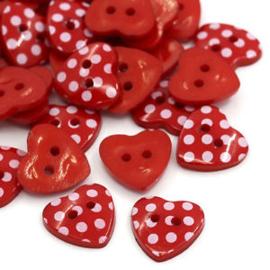 Hartje rood met witte stip.  15 mm
