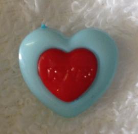 Hartje zeeblauw/rood.    15 mm