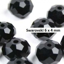 Swarovski Zwart 6 x 4mm 20 voor € 3,00