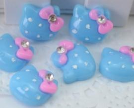 Hello Kitty blauw met steentje 4 voor € 1,25