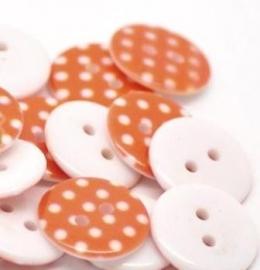 Oranje met witte stip 18 mm