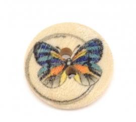 Hout knoopje met vlinder 15mm per stuk € 0,08