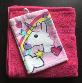 Handdoek met naam en Eenhoorn washandje