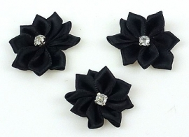 4. Bloemen Zwart met strass  27 mm